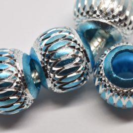 Perles rondes métallisées turquoise