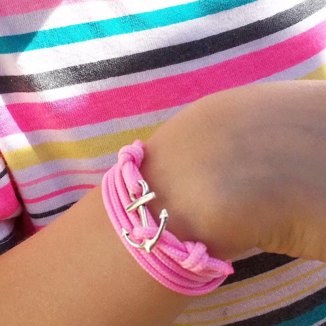 bracelet ancre et rose