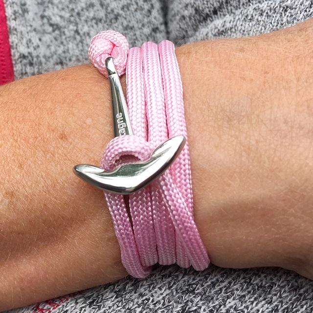 le bracelet rose ancre argent