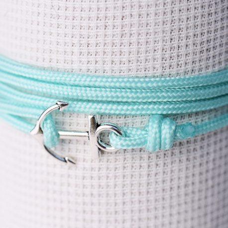 bracelet enfant avec petite ancre et drisse turquoise