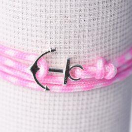 bracelet de petit marin en rose et ancre argent