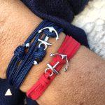 petit bracelet breton avec ancre sur drisse de bateau
