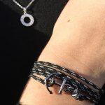 petit bracelet breton avec ancre acier gravée