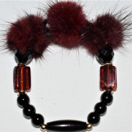 fourrures en pompons et murano