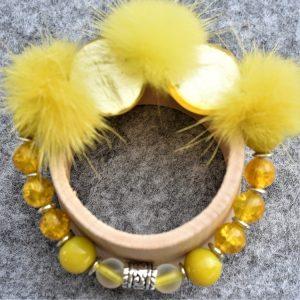 fourrure, vison et perle jaune