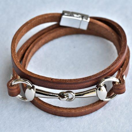 bracelet cuir et mors de cheval
