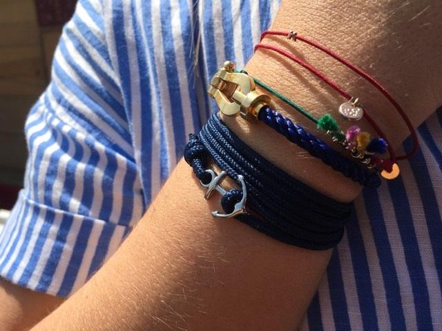 Bracelet avec une ancre en bretagne sur les marchés de Dinard, Cherrueix et Saint Briac