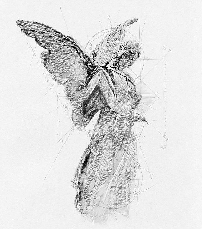 petite croix sur un ange