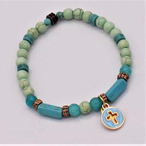 croix bleue et amazonite